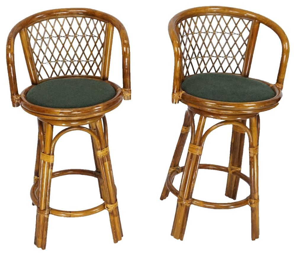 Mid Century Vintage Tiki Pair Rattan Bamboo Swivel Bar Stools Flicks Bar Furniture Rattan Bar Stools Bar Furniture For Sale