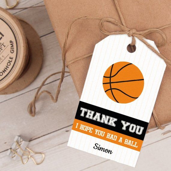 Personalize And Print Your BASKETBALL FAVOR TAGS Today