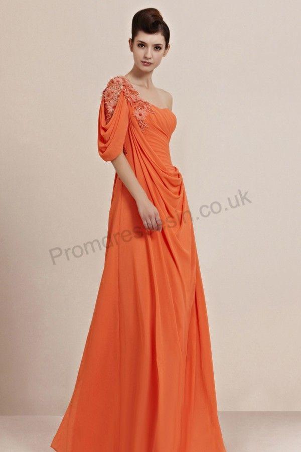 Orange Applique One Shoulder Ruffle Chiffon Prom Dress 2013 Pastel