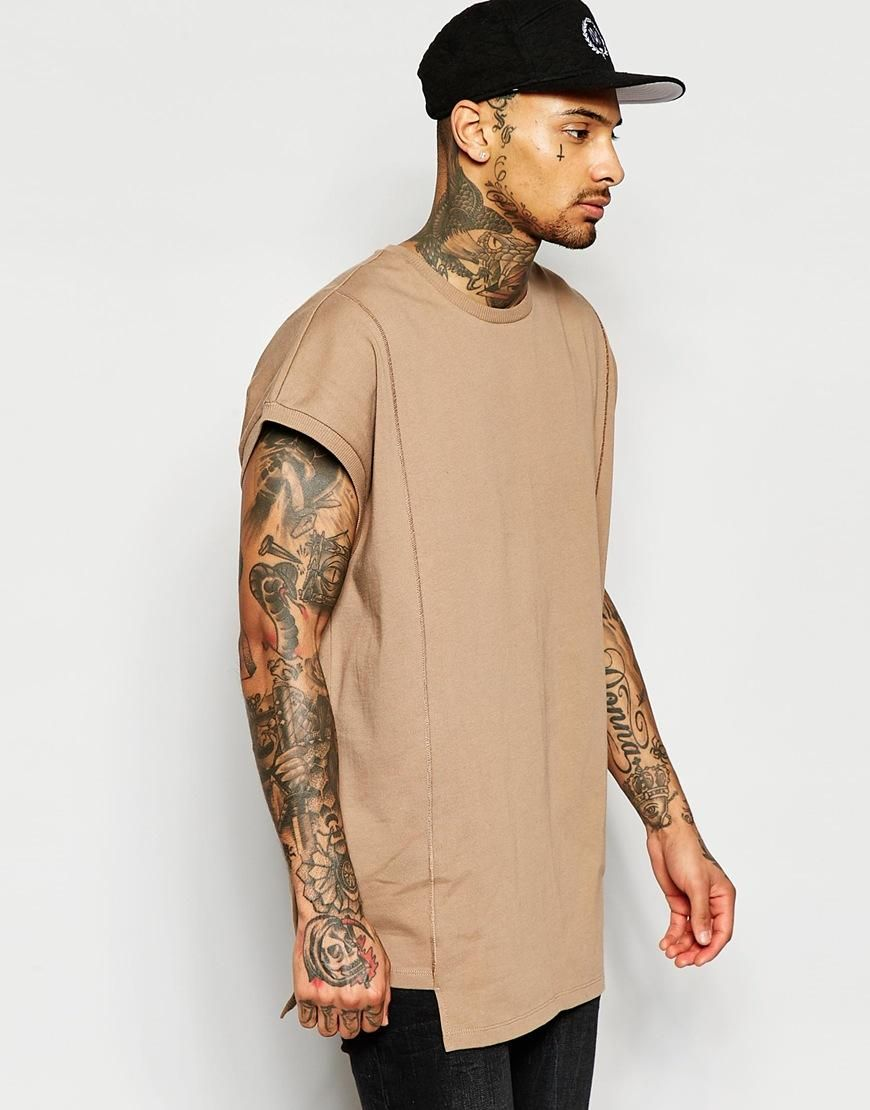 ASOS | ASOS Super Oversized T-Shirt In Heavyweight Jersey With Seam Detail  In Sand