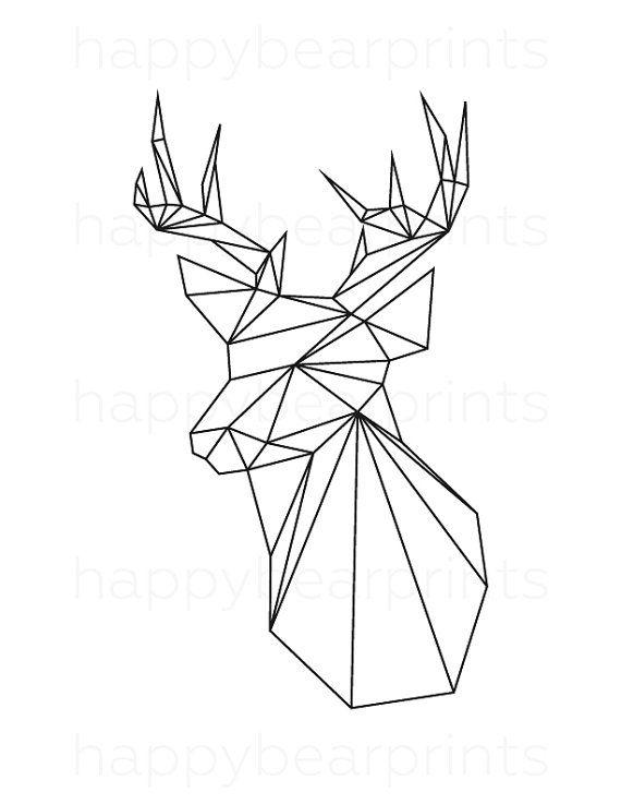Geometrique Cerf Cerf Noir Animal Geometrique Par Happybearprints