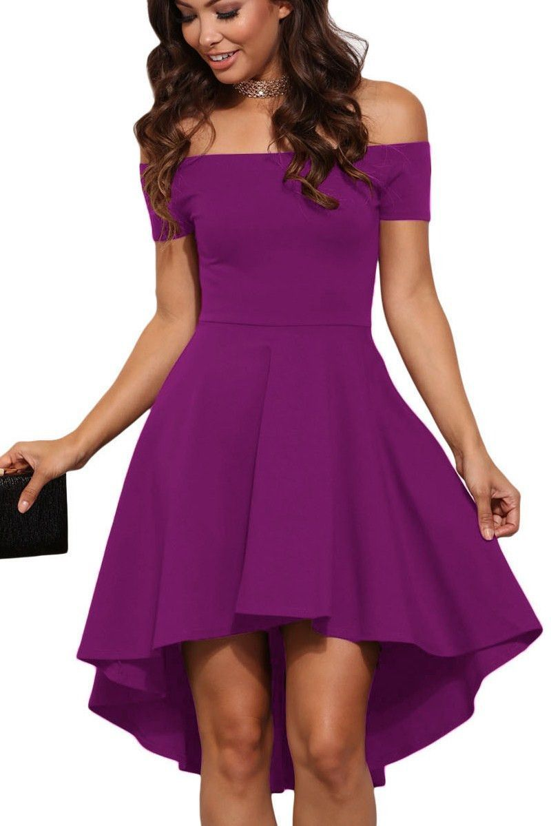 Purple Off Shoulder High Low Cocktail Party Dress | Semi formal ...