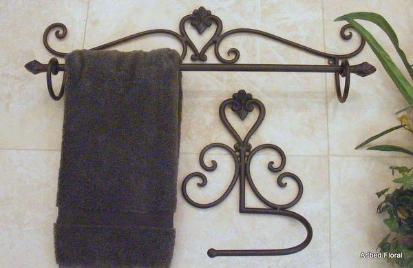 Iron Towel Bar Tuscan Scrolls Rack Holder Wrought Iron Towel Bar