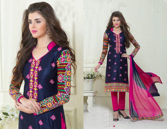 Awesome Violet Cotton Salwar Kameez67
