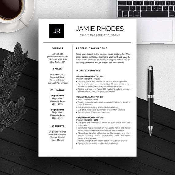 Professional Resume Template CV Template Cover Letter For MS - instant resume builder