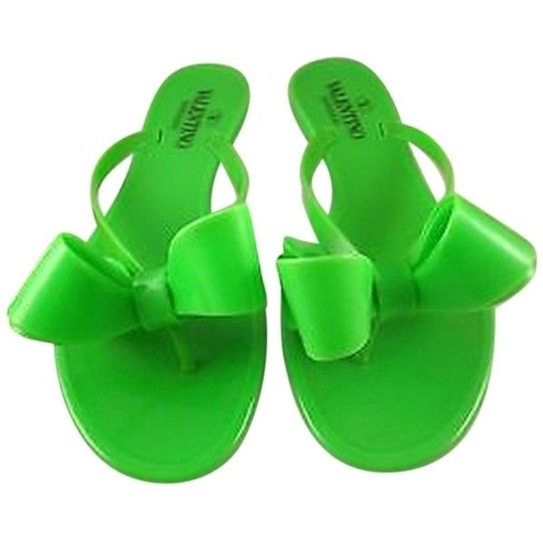 16231559c Pre-owned Valentino Rockstud Green Rubber Jelly Bow Pvc Thong Sandal... (