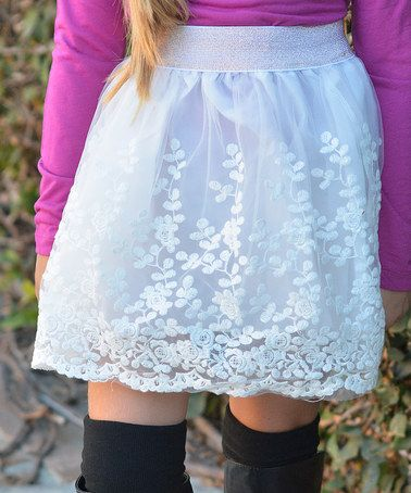 This Ivory Lace Skirt - Girls by POP Couture is perfect! #zulilyfinds