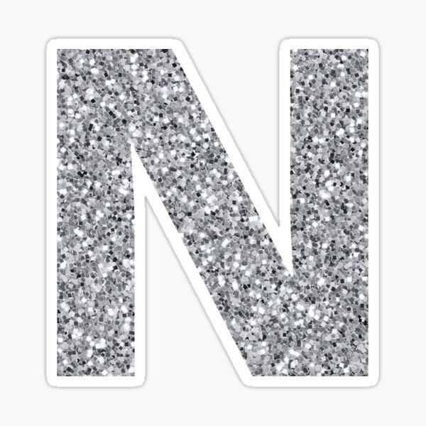 N Silver Block Monogram Silver Glitter Block Letter Initials Sticker By Jessica Schaub Initials Sticker Block Lettering Glitter Letters