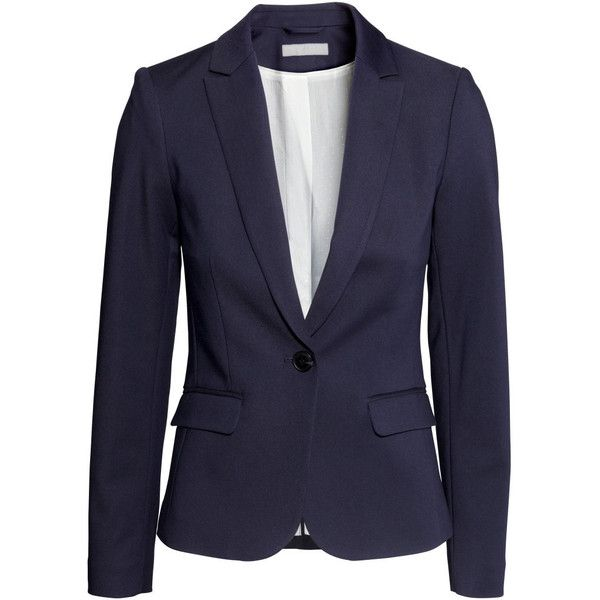 H&M Figure-fit jacket (86 BRL) ❤ liked on Polyvore featuring outerwear, jackets, h&m, dark blue, flap jacket, h&m jackets, cotton jacket, lined jacket and woven jacket