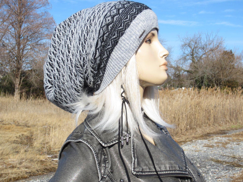 Extra Long Dread Tam Hat Merino Wool Knit Slouchy Beanie Dreadlock Tam  Black Gray Oversized Winter Hat A1876 by Vacationhouse on Etsy a126b08befb