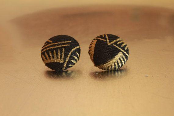 Black & Gold Pattern Earrings/ Tribal by AidenModernVintage, $7.00