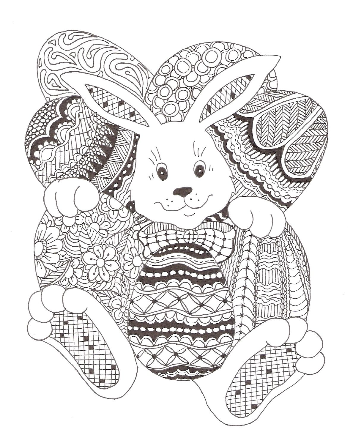 Easter bunny - Zentangle made by Mariska den Boer | coloring pages ...