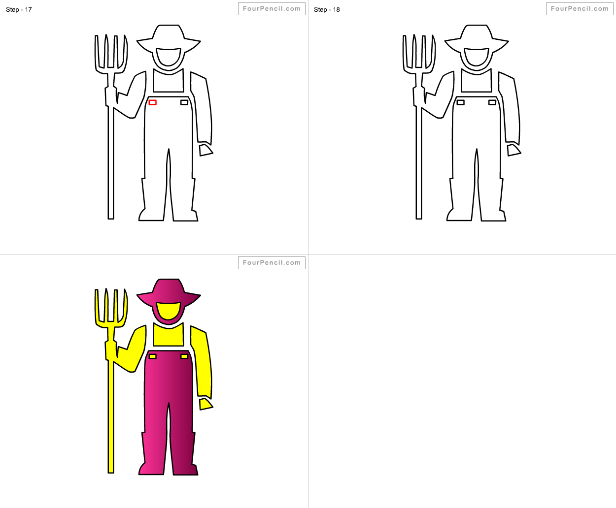 How To Draw Farmer For Kids Step By Step Drawing Tutorial