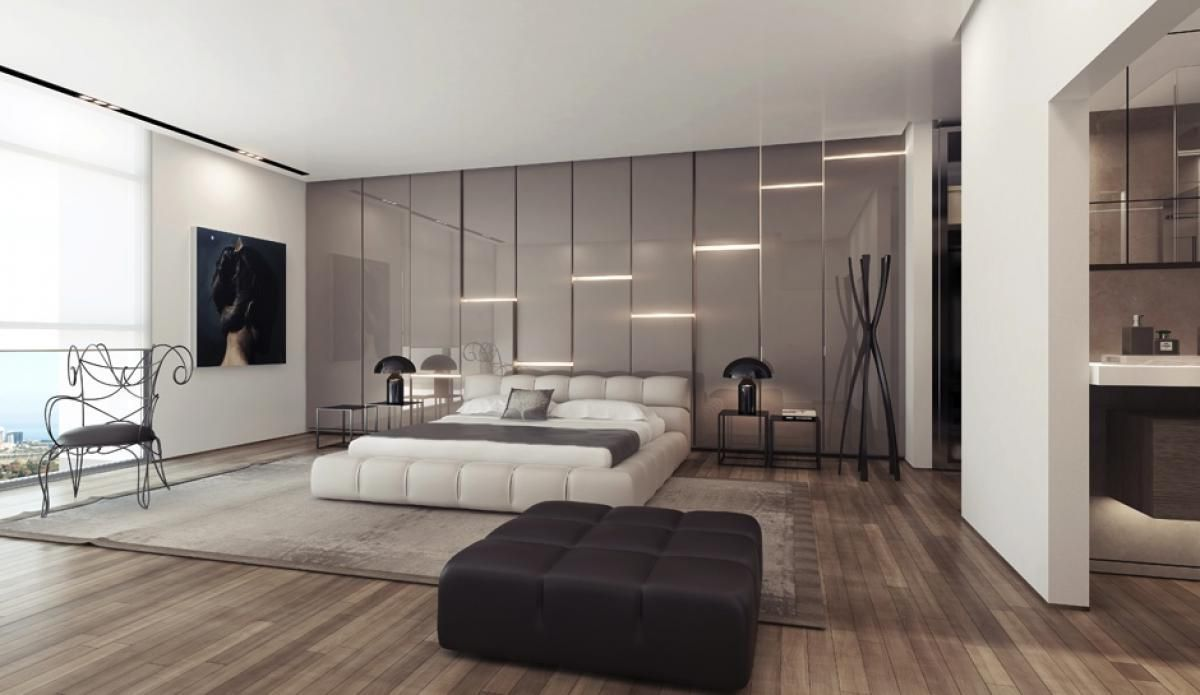 Gray Gloss Wall Lighting Panels For Modern Bedroom Design Ideas - Bedroom panelling designs