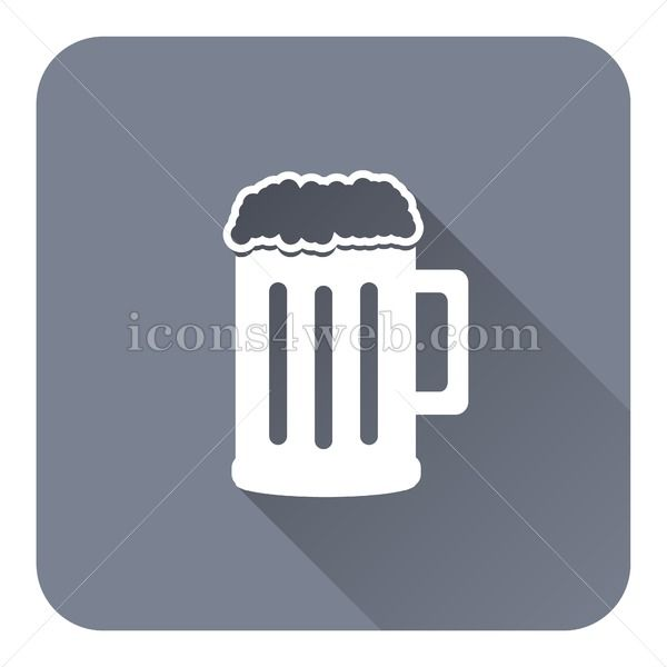 Beer flat icon with long shadow vector - webpage icon Beer flat icon with long shadow. EPS10 vector icon designed in high resolution. Royalty free vector icon for books, games, marketing, websites, apps, etc...