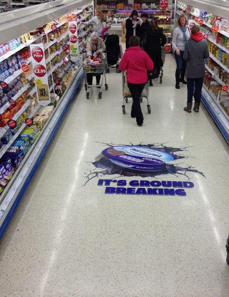 Kraft Cadbury Ran This Floor Graphic Campaign Across