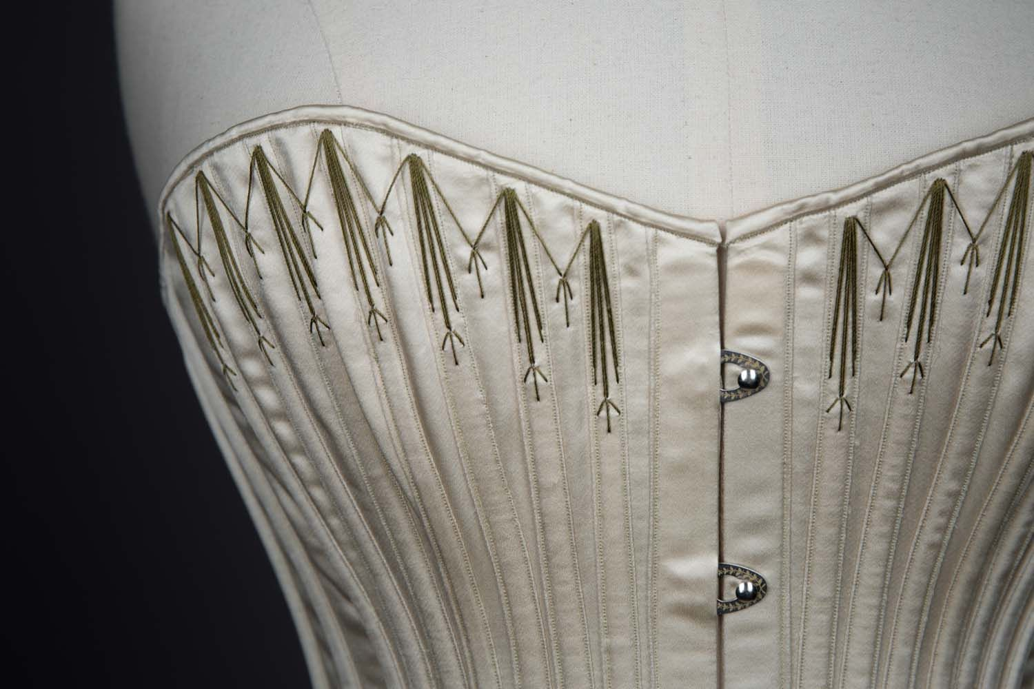 da7745136fc 1890s Symington Reproduction Silk Corset By Cathy Hay. The Underpinnings  Museum. Photography Tigz Rice ENGRAVED BUSK