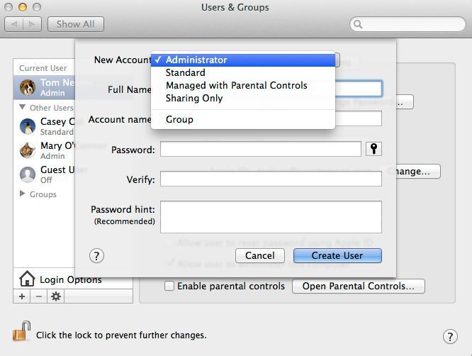 How To Make A New User For Mac Os X