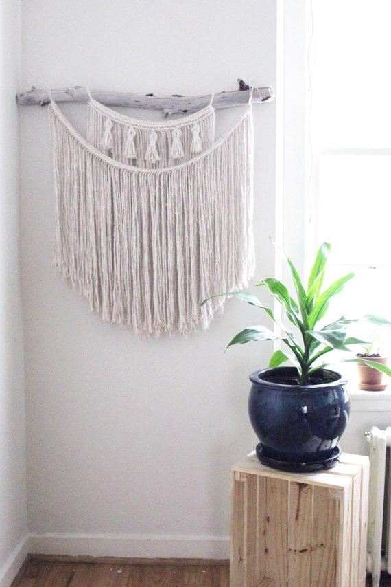 Large Macrame Wall Hanging / Natural White Cotton Rope / Oregon ...