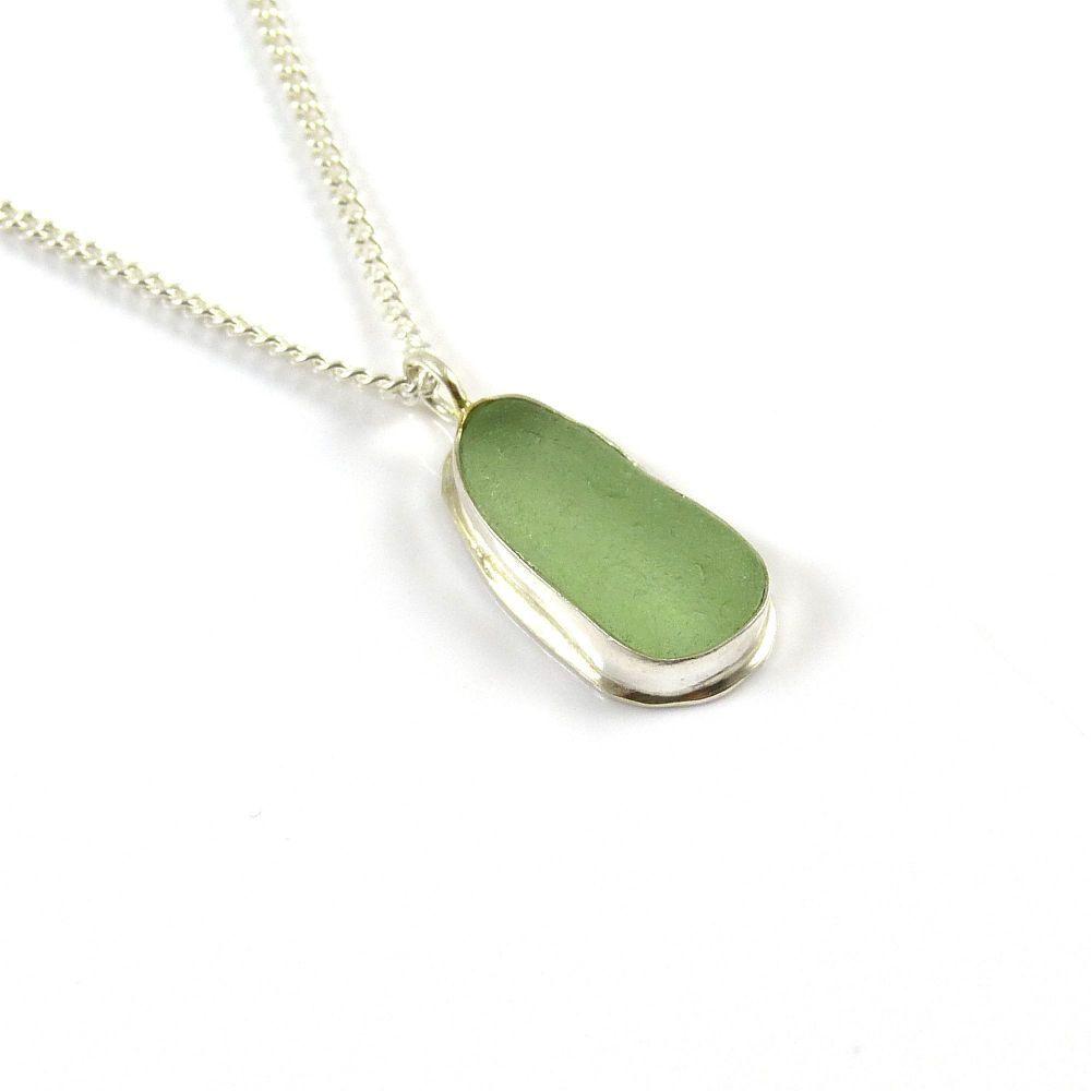 Pale sage green sea glass pendant necklace daisy birmingham sea