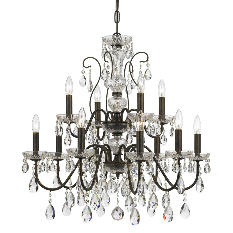 Elight Design Ed05612 12 Light 29 Wide Chandelier With Crystal Accents Bronze Indoor Lighting Chandeliers