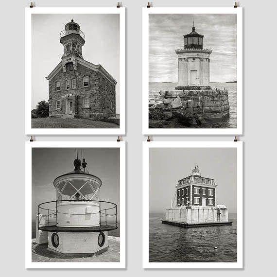 New England Lighthouse Photo Collection Four Prints Cottage Wall Art Coastal Decor Beach Theme Black And White Set Print
