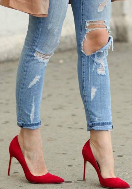 4ad083e31d Red Point Toe Stiletto Ankle Heels Ankle Heels, Stiletto Heels, Me Too Shoes ,