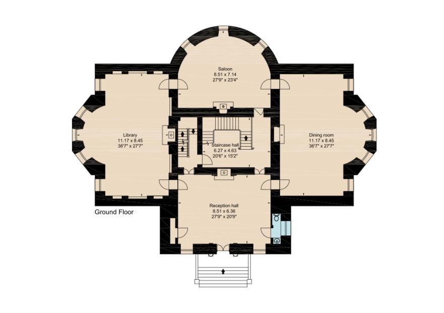 Main Level Castle Floor Plan Vintage House Plans Architectural Floor Plans
