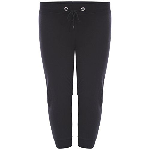 Womens 3/4 Jogging Bottoms Ladies Cropped Joggers Plain Capri ...