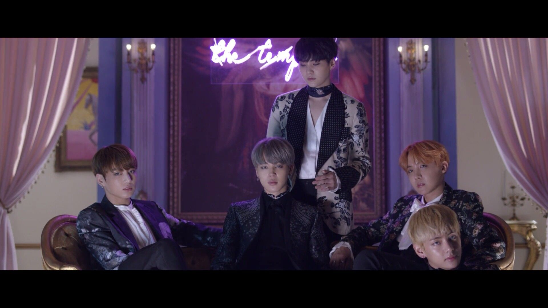 Bangtan are ethereal! The sign behind them says: the temp-.. what? ❤ 방탄소년단 (BTS) '피 땀 눈물 (Blood Sweat & Tears)' MV Teaser #BTS #방탄소년단