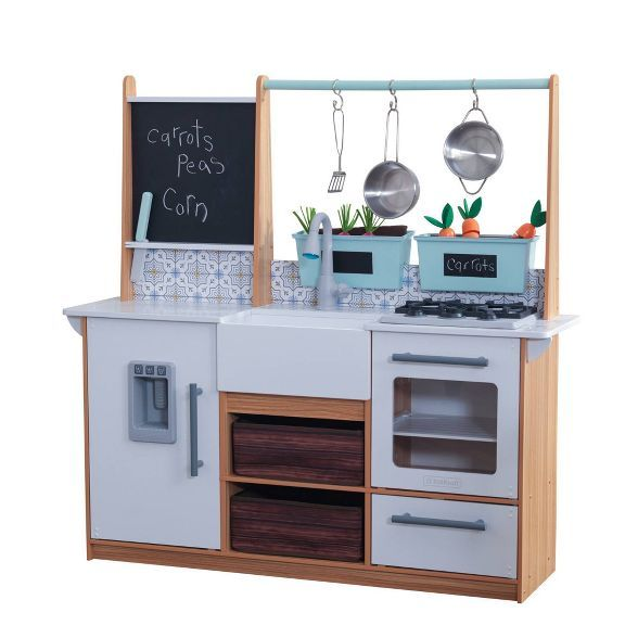 Kidkraft Farmhouse Play Kitchen In 2020 Play Kitchen Play Kitchen Sets Wooden Play Kitchen