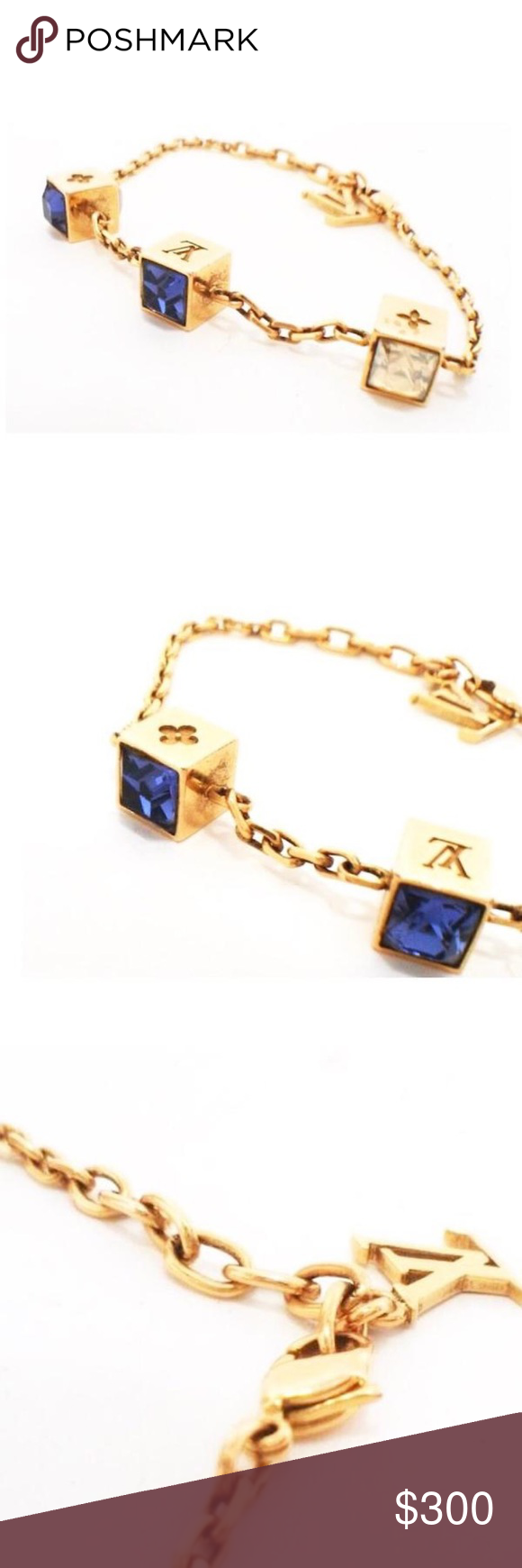 Authentic vuitton gold swarovski gamble bracelet authentic louis