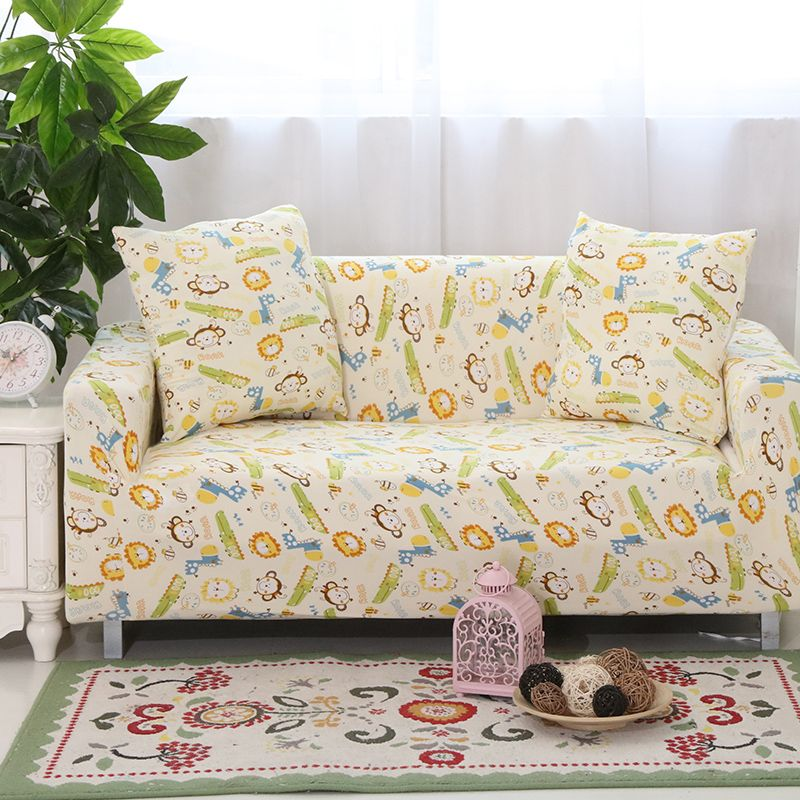 Single Seat Sofa Double Three Four Seat Sofa Covers Cartoon Designer Sofa  Slipcover Elastic Lion