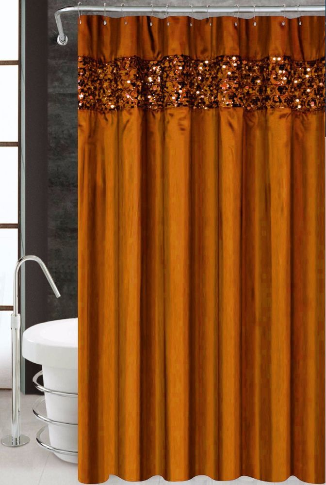 Vegas Orange Luxury Fabric Shower Curtain Bathroom Accessories