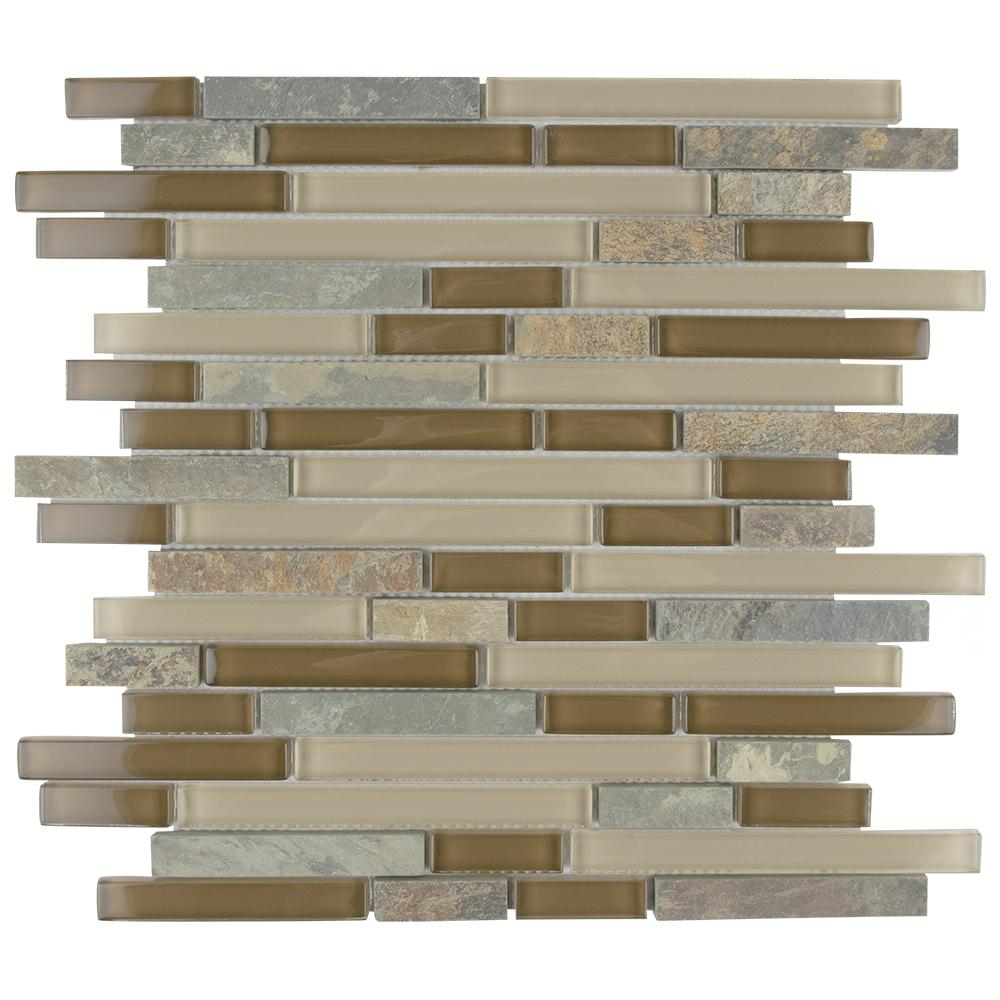 Merola Tile Tessera Piano Brixton 11 5 8 In X 11 3 4 In X 8 Mm Glass And Stone Mosaic Tile Multicolored Tan Mixed Finish Stone Mosaic Tile Stone Mosaic Mosaic Tiles