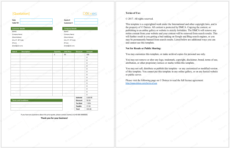 Sales Quotation Template For Excel  Quotation Templates  Dotxes