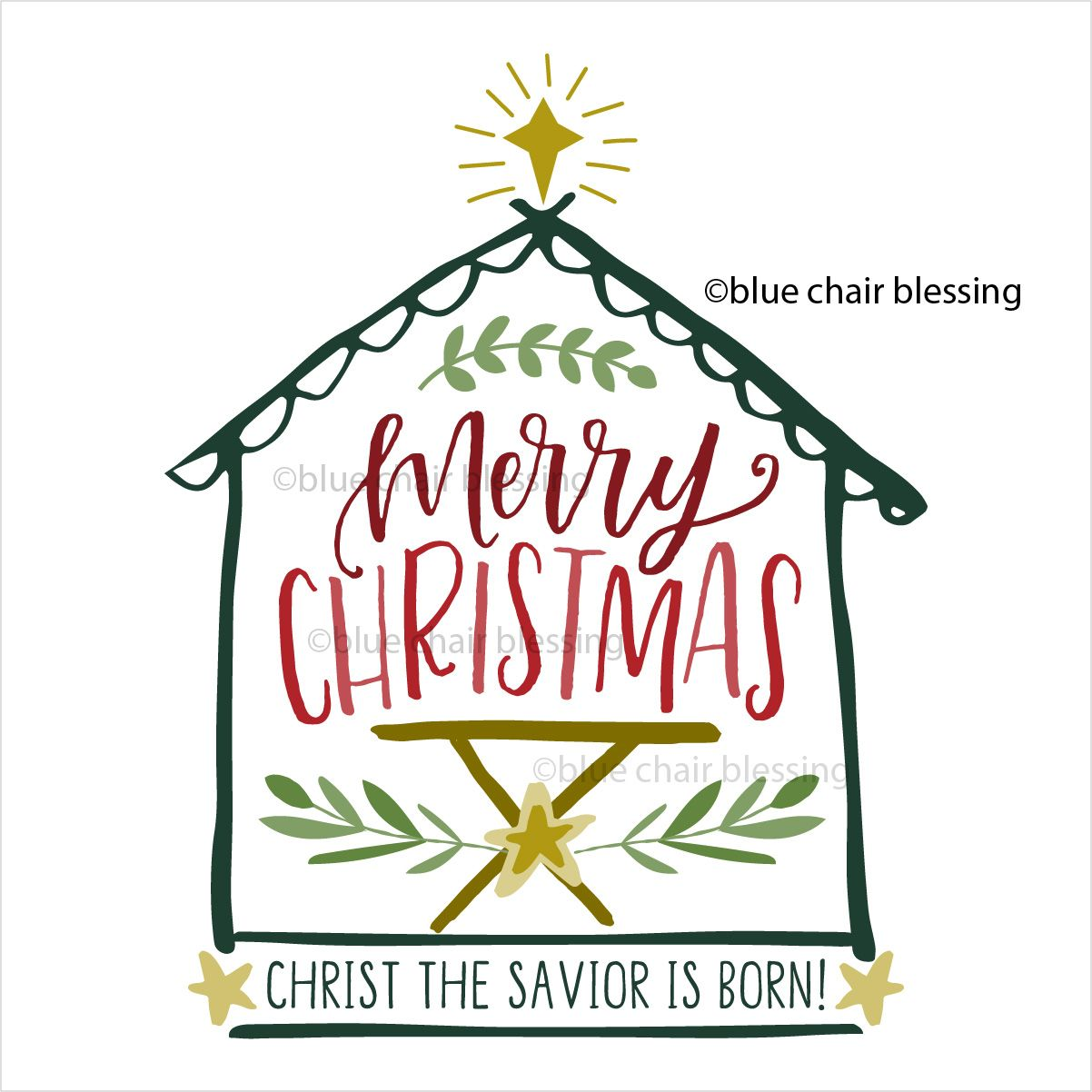 Hand lettered Christmas graphic clip art for crafting. May