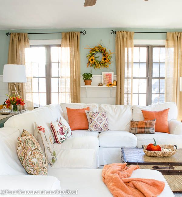 Fall Decorating Ideas Fall Home Tour 2015 White sofas Living