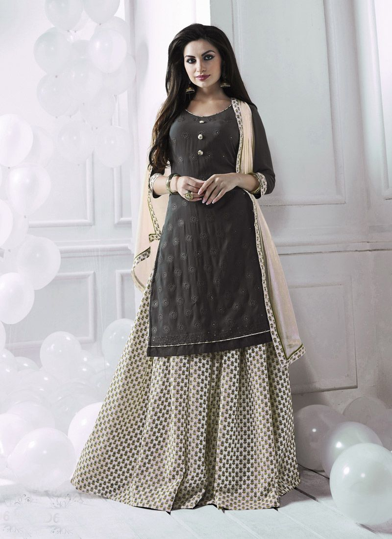 Suits Clothes Designer   Gray Georgette Casual Sharara Salwar Suit In 2018 Punjabi Sharara