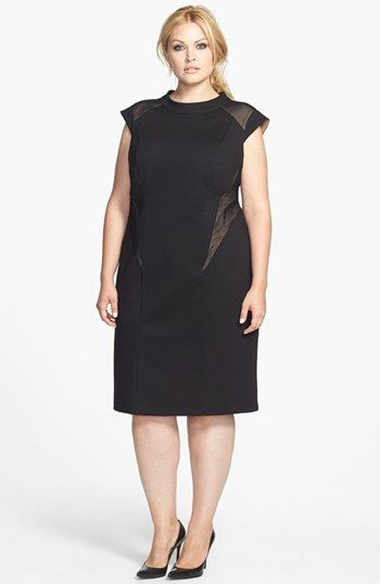 ABS by Allen Schwartz Illusion Cutout Sheath Dress Plus Size