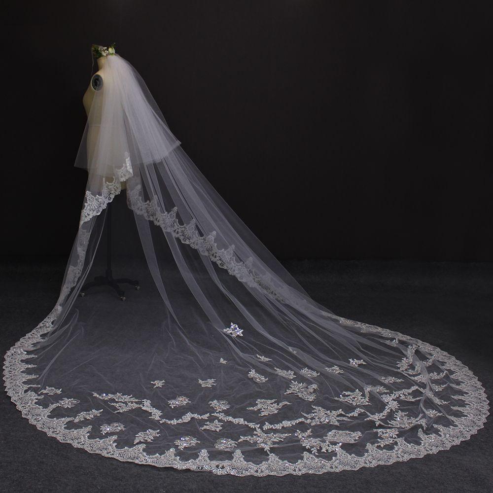 fef6283f26 Wedding dress · 2017 Real Photos New Style Two Layers Lace Luxury Long  Wedding Veils White Ivory Bridal Veil