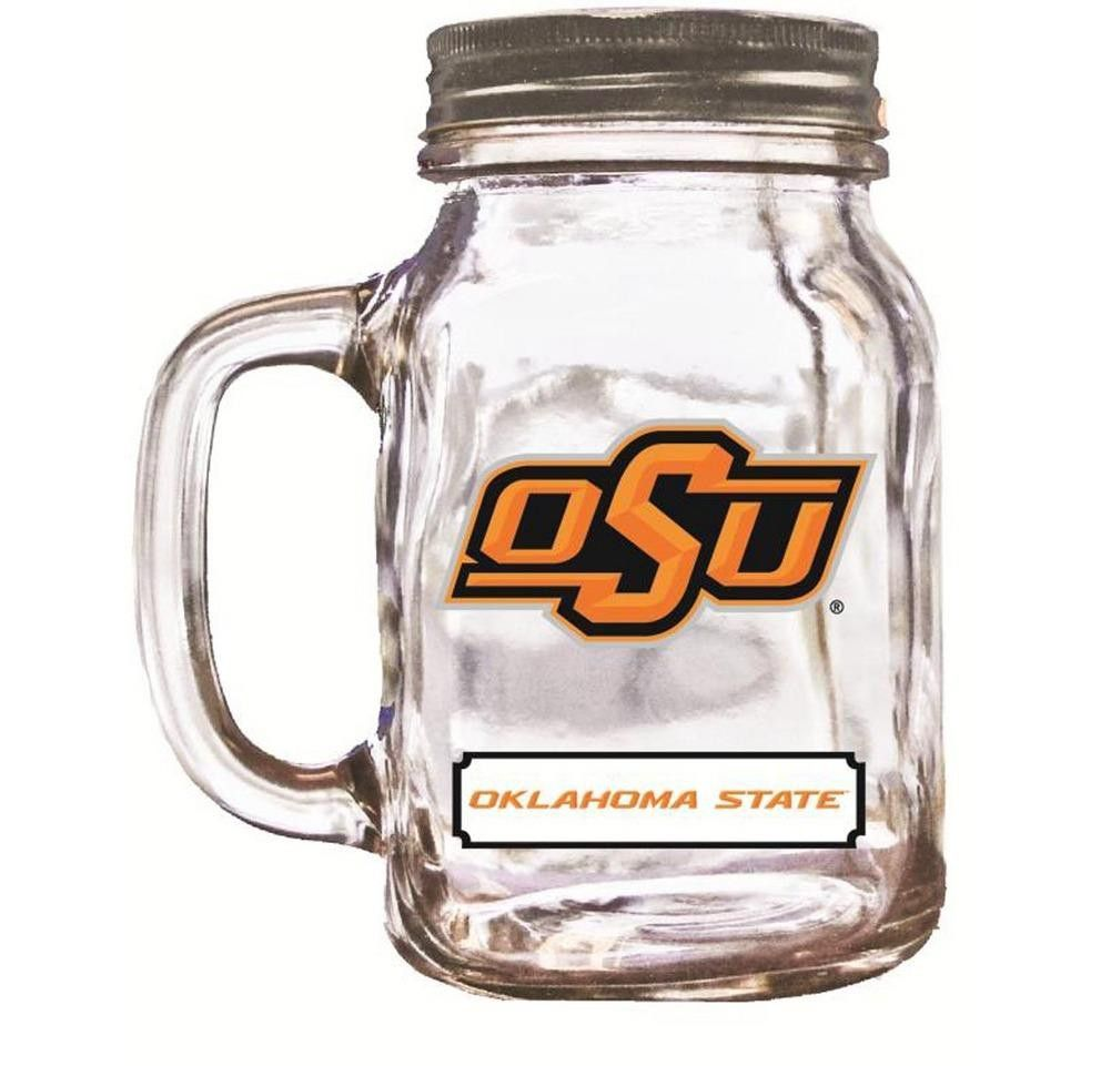 High Quality Glass 16Oz Mason Jar With Aluminum Screw-On Cap. These Wide Mouth Jars Are Emblazoned With Team Logos And Come With A Great Handle. They Make Fun Drinking Glasses And Are Also Great Stora