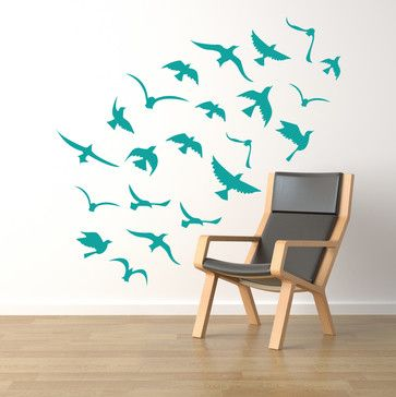 Seagulls Flock in Flight Decal - contemporary - decals - Cherry Walls