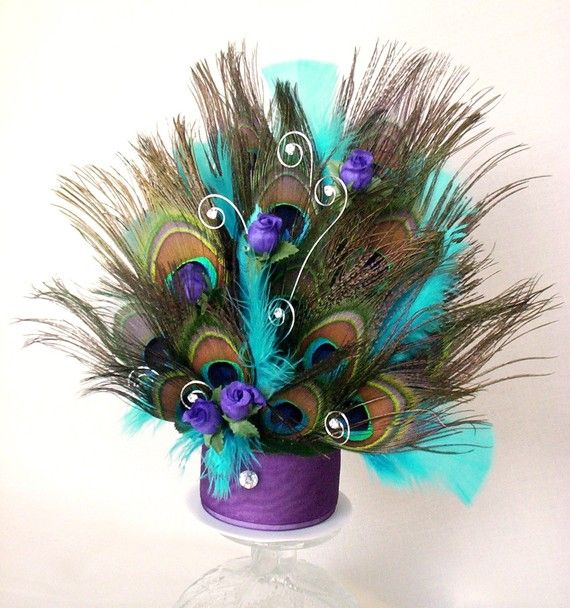 Peacock Wedding Cake Top Turquoise Purple by AmoreBride on Etsy