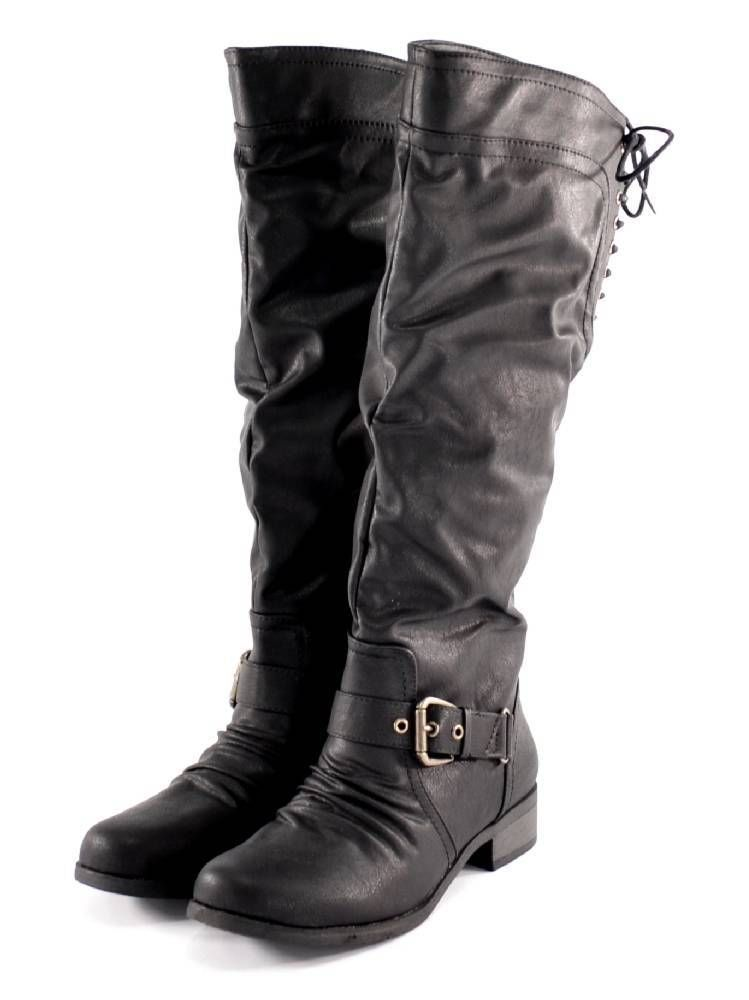 XOXO Womens March Black Boots Knee High