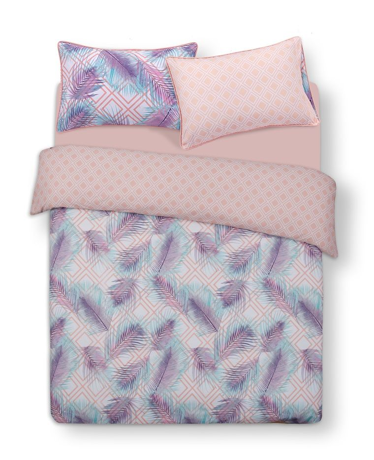 Pink Feather Double Duvet Cover