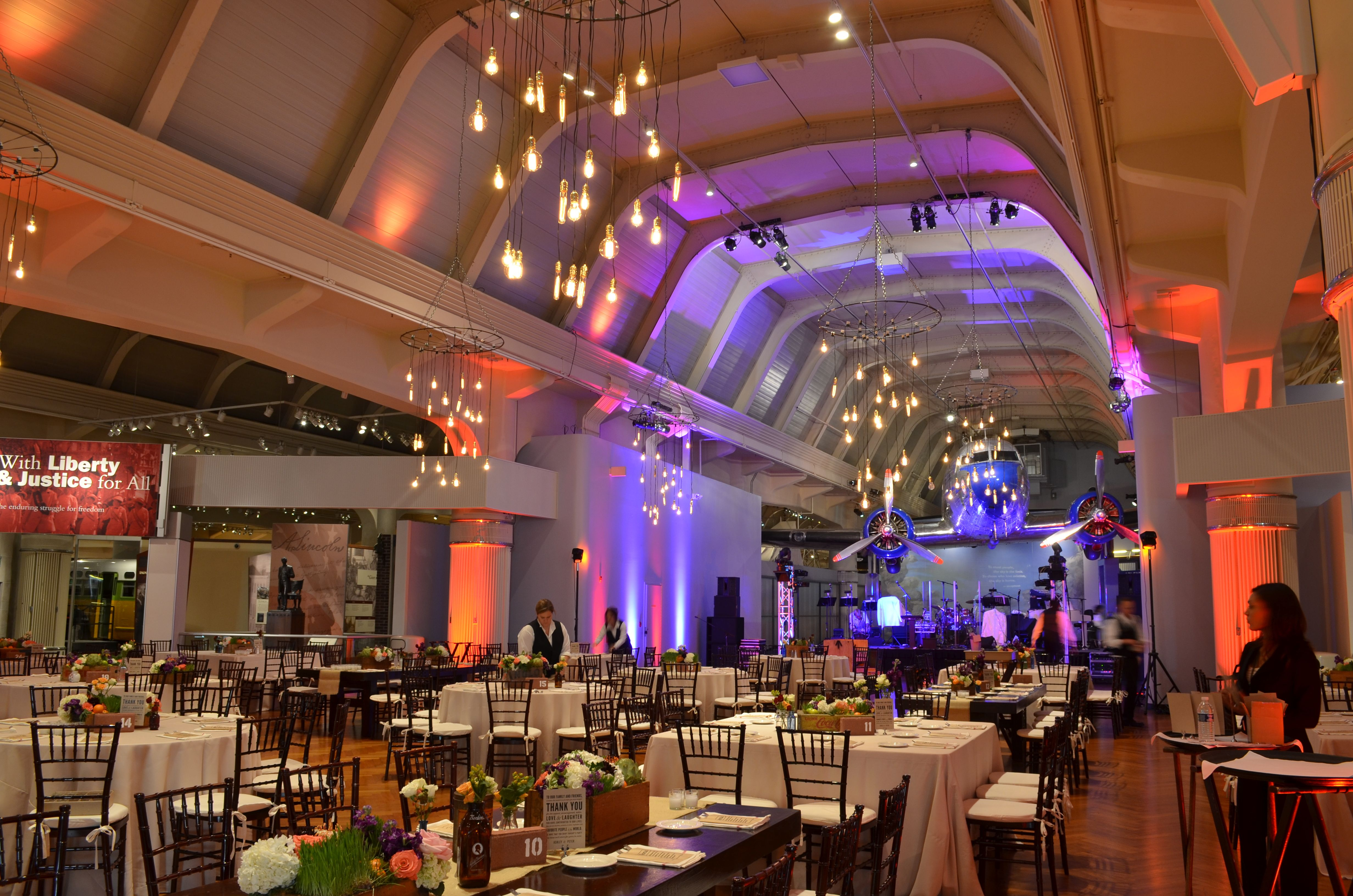 Wedding Venues Custom Edison Bulb Chandeliers Hung From Henry Ford Museums Ceilings