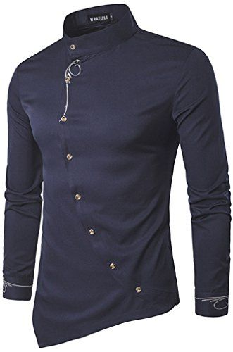 60ecc6a02ad71 Whatlees Mens Long Sleeve Extra Long Embroidery Design Party Club Button  Down Dress Shirt B404-Navy-S
