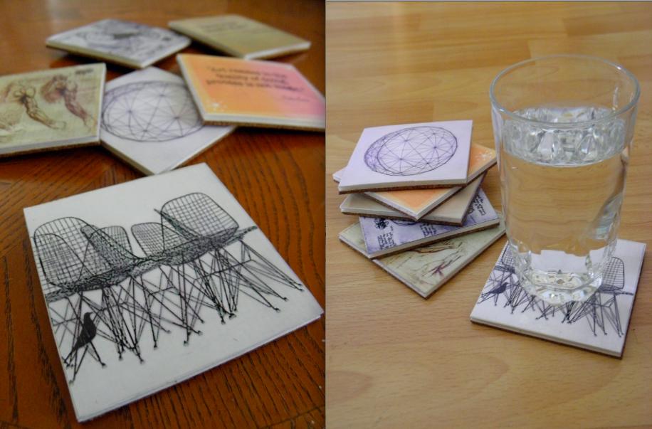 Coasters made of styrofoam board, cork, photo paper, and acrylic varnish.