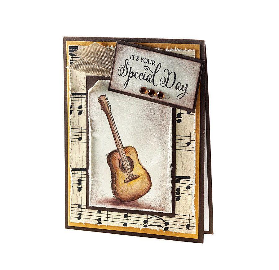 Guitar Birthday Music birthday Card Stamped Greeting